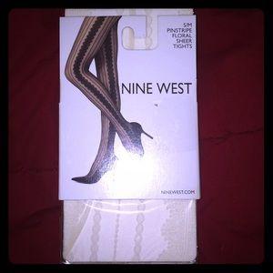 3/$15. Nine west pinstripe floral sheer tights